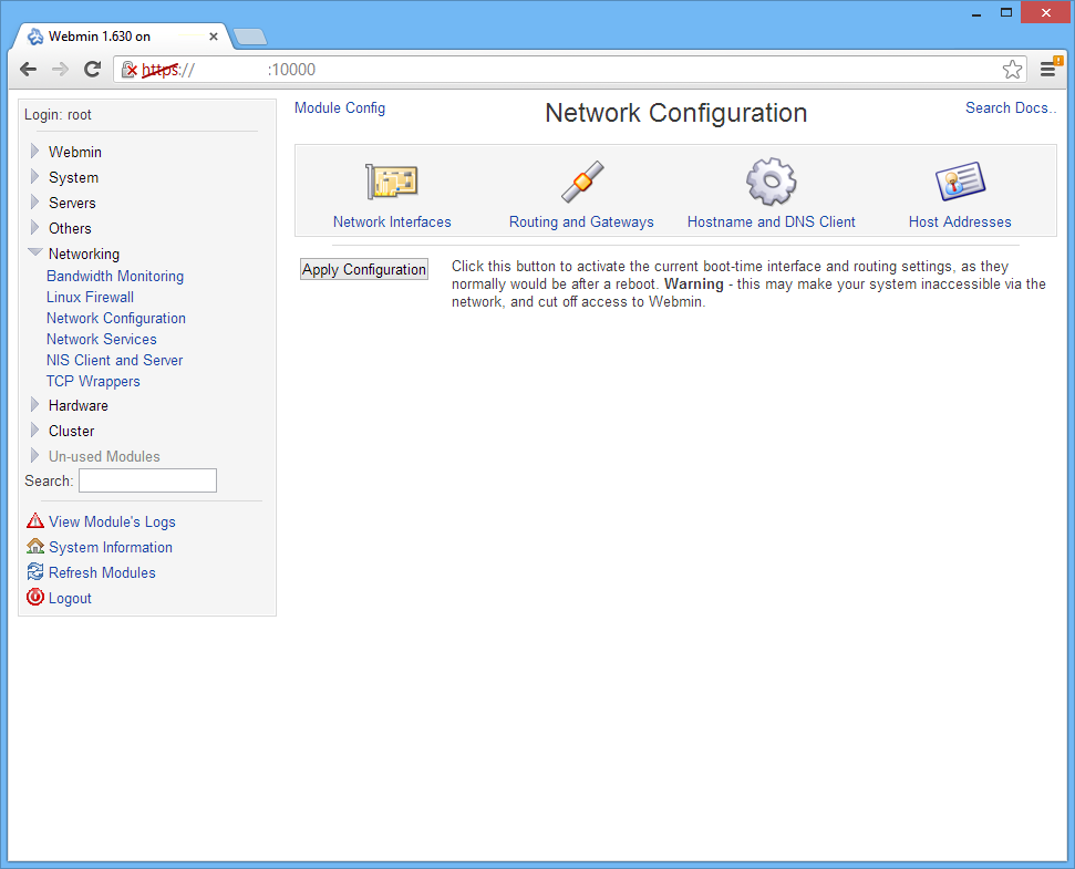 Webmin - Network configuration